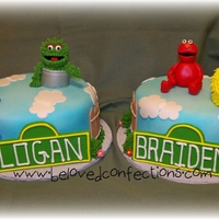 "Sesame Street For The Twins 2- 8"" double layer rounds covered in fondant. hand crafted figures... all fondant with royal icing texture...TFL"