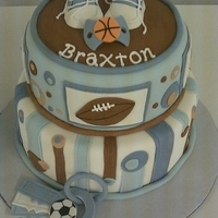 Sporty Baby Boy Cake created by many CC's viewers...I was pleased with my hand at it. Created for my cousin's baby shower. All accents are...