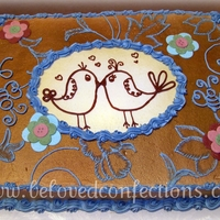 "The Birds And The Bees! All buttercream with some gold airbrushung. Created with inspiration from the invitation (2nd picture) Cute ""birds and bees theme :)..."