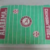 Alabama Football Field half sheet cake, buttercream with printed fondant accents.