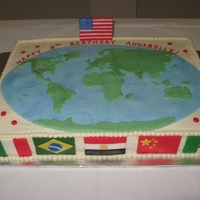 "Around The World Party Cake this was made for my daughter's 8th birthday party - an around the world celebration! The flags represent the 6 countries we ""..."