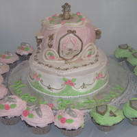 Princess Carriage Cake   vanilla cake with mmf, carriage is made with rice krispys