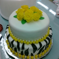 Zebra Stripes/yellow Roses