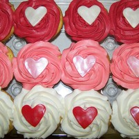 Valentines Cupcakes Vanilla With Almond Buttercream And Fondant Hearts Valentine's cupcakes- vanilla with almond buttercream and fondant hearts