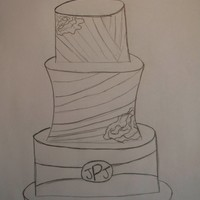 Wedding Cake Sketch The top left and middle right corners are fondant lace applique.