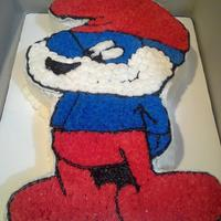 Papa Smurf Cake *Used a coloring page as a template to carve and decorate this cake with buttercream.