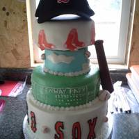 Red Sox Birthday Cake *Red Sox Birthday Cake. Bat is molded chocolate. Hat is a real hat was part of his birthday gift.