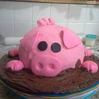 Pig Cake *Pig Cake for my sister's Birthday. It's canned icing for the mud because it had the consistency I needed.