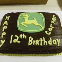 Fun Lovin' Farm Boy's Birthday Cake For My Grandson chocolate cake with chocolate frosting, fondant John Deere emblem