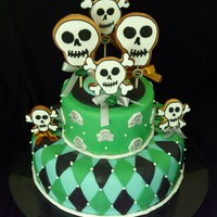 Skull Cake With Cookies!   chocolate cake with 4 fillings. Skull cookies on top!