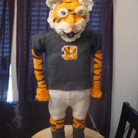 Bengals Mascot Created From Cake Modeling Chocolate And Cereal Treats Bengals mascot created from cake, modeling chocolate and cereal treats.