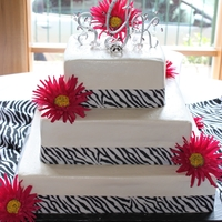 Zebra Wedding Cake   Buttercream Icing with Ribbon Trim