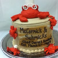 Crabs!!!  Going away cake for a fellow Chef at my work.....he was allergic to crabs so we thought it would be funny to put some fondant ones of the...