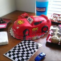 Lightening Mcqueen Car Cake *Lightening McQueen cake carved with fondant