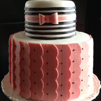 Pink And Black Striped Cake With Scallops Beautiful scalloped and striped cake modeling chocolate and fondant