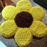 "Sunflower For My Daughter She was wanting a cake ""just because""...so this is what I made her"
