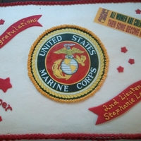 Marine Graduation for a Naval Academy grad, buttercream with edible images (highlighted the red with food color pens) and fondant accents.
