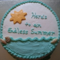 Endless Summer - Retirement for a teacher's retirement. All buttercream. Sun is FBCT with white chocolate shells brushed with a lil luster dust.