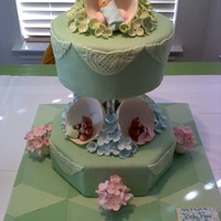 Teacups & Teddy Bears Baby shower cake. A collection of favorites of the Mom-to-be: green, hydrangeas and tea cups. I tried to incorporate all as best I could....
