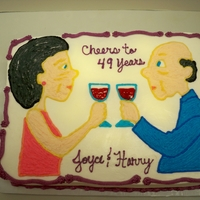 Old Couple Anniversary This is all butter cream, hand drawn