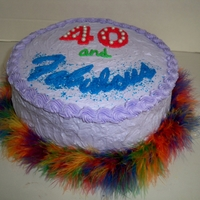 40 And Fabulous buttercream, with feather boa