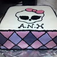 Monster High Cake For my niece Alyssa's 11th birthday. She wanted a monster high theme cake and her initials on the cake. All fondant, black piping.