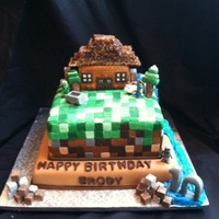Minecraft Birthday Cake With Waterfall Complete With Creepers Skeletons A Wolf And Stevie   Minecraft birthday cake with waterfall. Complete with creepers, skeletons, a wolf and Stevie.