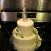 Simple Round Wedding Cake 2 layer cake covered in Rhonda's MMF..DELICIOUS!