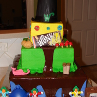 Charlie And The Chocolate Factory, Willie Wonka, Wonka Cake School Play After Party Wonka Cake. A bit of a blend of the 2 movies....original Oompa Lumpas and Gobstopper. Pink Candy Boat and Walnuts...