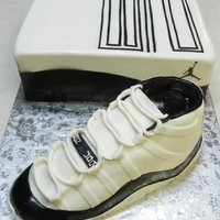 Air Jordan Xi Retro Concord Carved cake using 1/4 sheet cake. iced and covered in mmf. detail is all in mmf. for the shoe box, used 1/4 sheet cake, 3 layers, iced in...