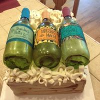 Wine Themed Cake For 3 Ladies In A Wine Group Custom Sugar Bottles With Edible Labels One For Each Of The Birthday Girls Cake Was Lemon Wit... Wine themed cake for 3 ladies in a Wine Group.Custom sugar bottles with edible labels one for each of the birthday girlsCake was lemon with...