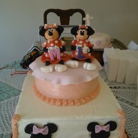 Minnie Mouse Cake Bottom Tier Carrot Cake With Cream Cheese Filling Top Tier Butter Cake With Pineapple Filling   Minnie mouse cake, bottom tier carrot cake with cream cheese filling, top tier butter cake with pineapple filling