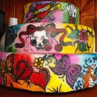 Tattoo Cake Hand Painted Tattoo Design