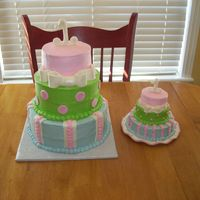 1St Birthday   1st birthday cake to coordinate with invitation. Buttercream w/fondant accents.