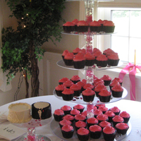 Cupcake Tower With Bride And Groom Mini Cake