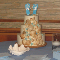 Beach Theme Red velvet cake with cream cheese frosting. White chocolate seashells with airbrushed color. Sugar flip flop toppers.