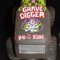 Grave Digger Jumps Sea Of Cupcakes Grave Digger Monster Truck for my son's birthday today, Grave Digger is rice crispy treats, modeling chocolate and fondant, hand...