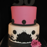 Pink Damask Cake I love how simple and classy this cake turned out.