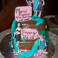 Fashionista 16Th Birthday The models are made of painted chocolate, the teal fabric is fondant,