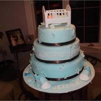 3 Tier Baby Shower Cake With Crib And Shoes