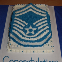 Smsgt Promotion Cake Usaf   This is a cake for a promotion party for SMSgt. Yellow cake with chocolate buttercream filling. Inspired by thomaslsc.