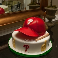 Phillies Cap Grooms Cake Phillies baseball cap grooms cake. Flavor was yellow butter and chocolate chip cookie with smbc.