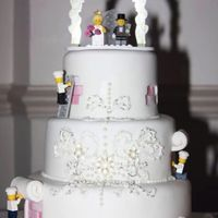 Lego Themed Wedding Cake With Detailed Piping   *Lego themed wedding cake with detailed piping