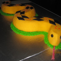 Snake Cake Covered with fondant- used bubble wrap to imprint texture. My son loved this for his 6th birthday which was an animal party.
