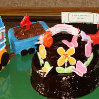 Birthday X 2 Brother and Sister's Birthday celebrated together. Boy Train - Girl Chocolate Ganache Chocolate cake with royal icinig butterflies and...