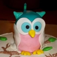 Owl Cake Topper Birthday cake made with RKT covered in fondant! Thanks for the inspiration CC'ers!