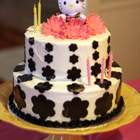 Hello Kitty Birthday Cake For the hello kitty birthday cake I used cookie cutouts for the flowers out of black fondant. The pink flowers are made out of fondant also...