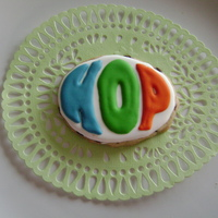 Hop Cookies Royal icing on a rolled chocolate chip cookies. Made for some children going to the movie, HOP.