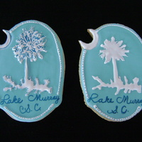 Lake Cookie   NFSC with Royal Icing. This was made for a new neighbor living on our beautiful Lake Murray in SC. The idea came from a car decal.