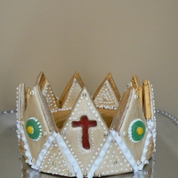 Crown For Epiphany Cake   Crown made from gingerbread, iced with royal icing. This was placed on a cake for our church Epiphany Kings' Cake.